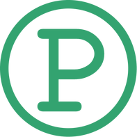 green p in a circle